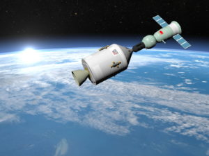 Apollo-Soyuz test project with experimental joint flight of the Soviet spaceship Soyuz-19 and the American spaceship Apollo, elements of this image furnished by NASA - 3D render